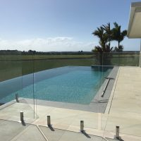 Infinity pool, glass pool fence, Cooya Beach
