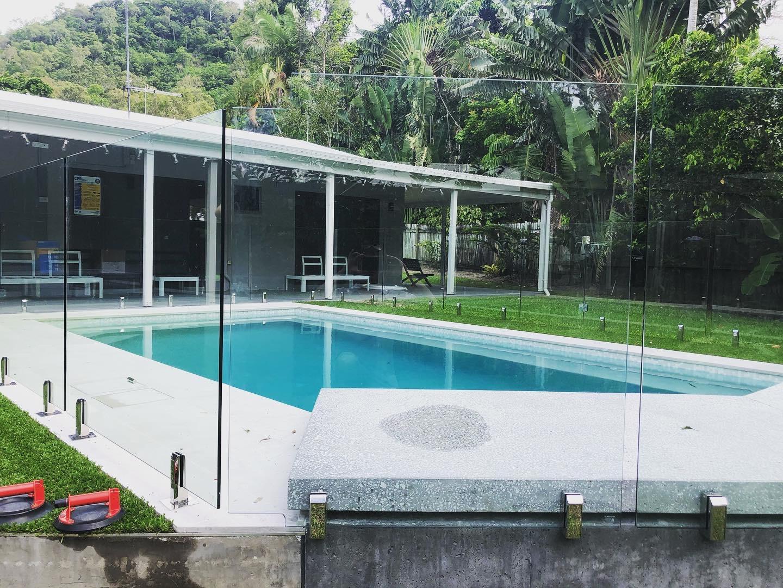 Custom wall mounted glass pool fencing, renovation Trinity Beach