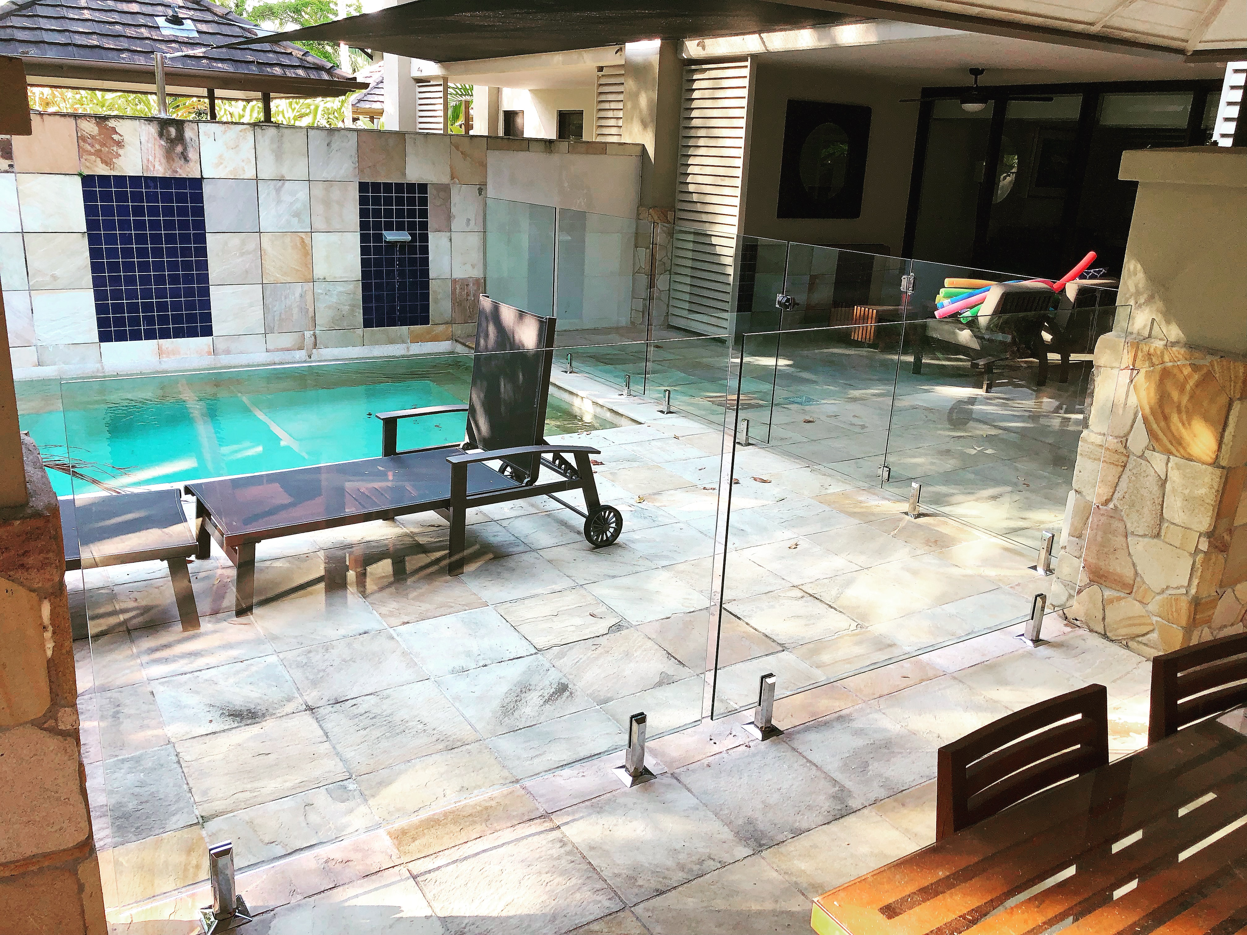 Resort glass pool fence, Cairns