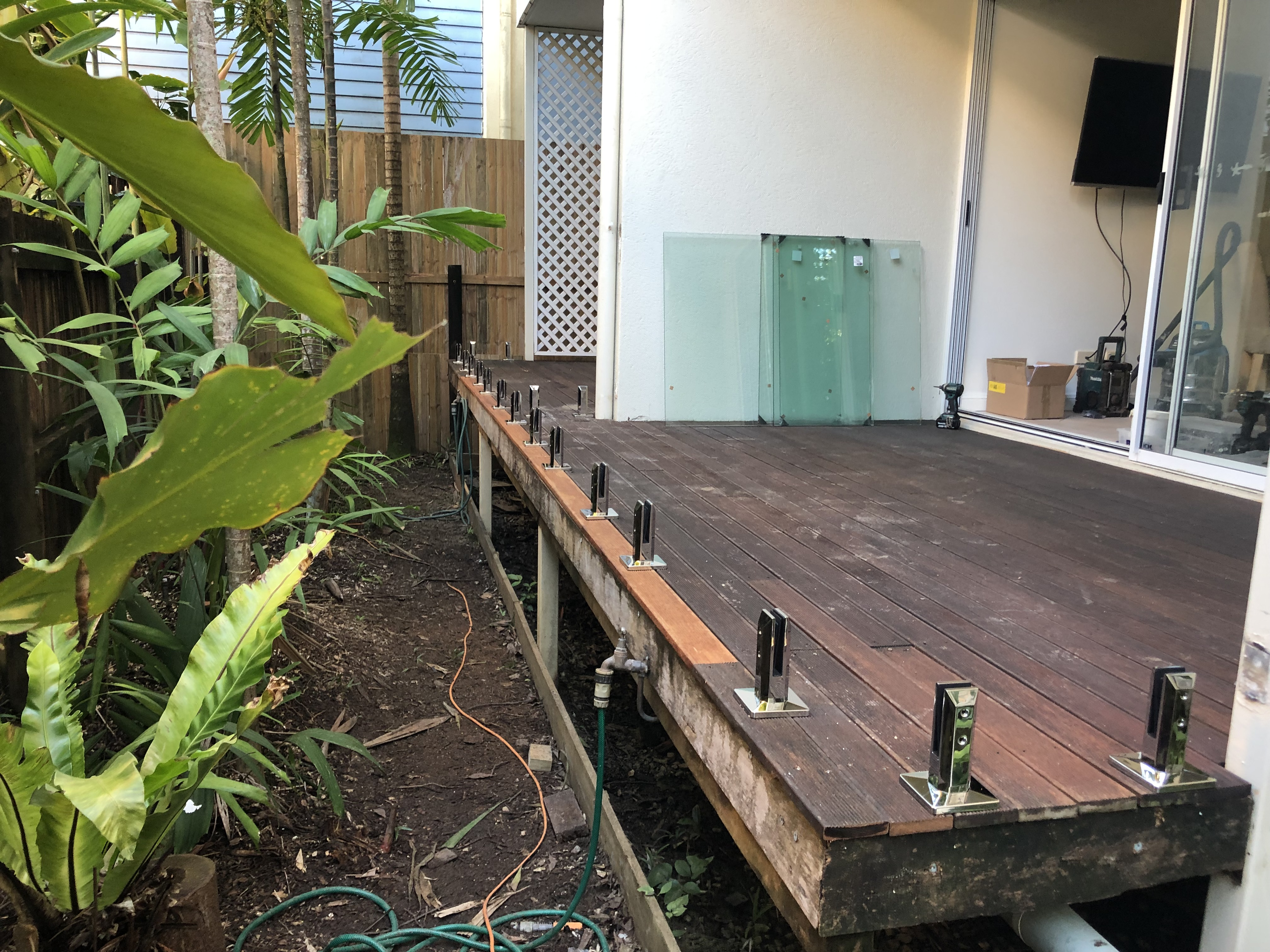 Deck Mounted Spigots ready for glass balustrade, Port Douglas