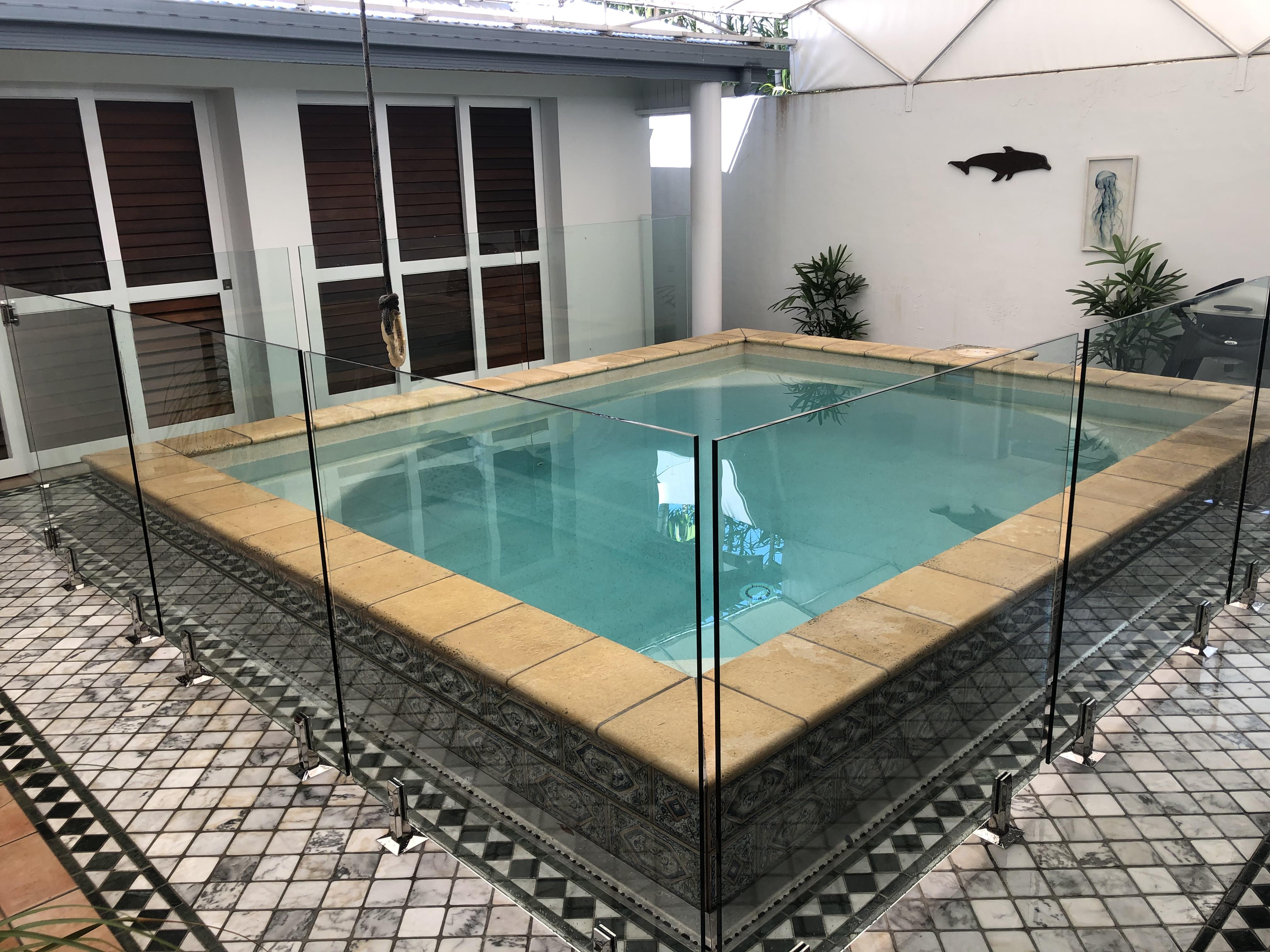 Pool renovation, frameless glass pool fencing, Port Douglas