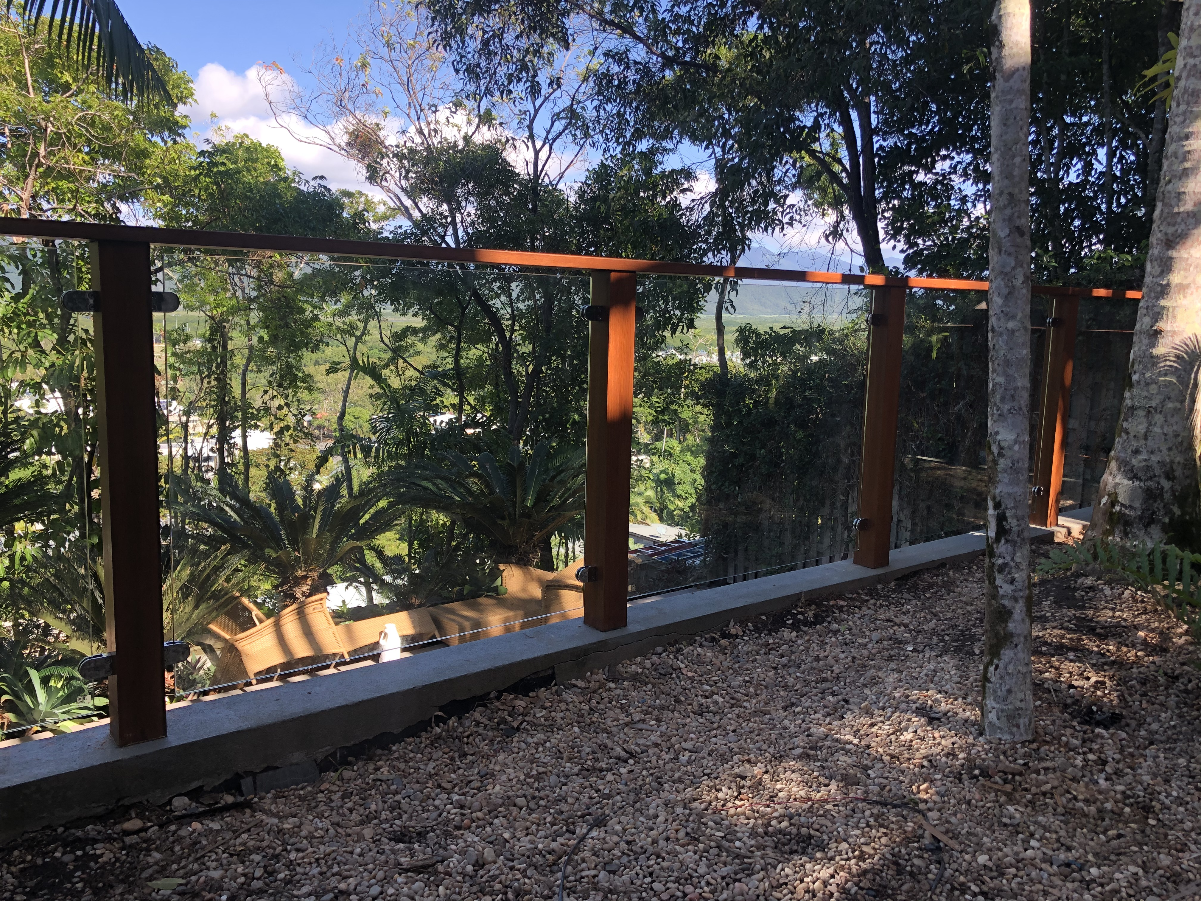 Fully Frameless glass balustrade with stainless steel clamps, hardwood posts, Port Douglas