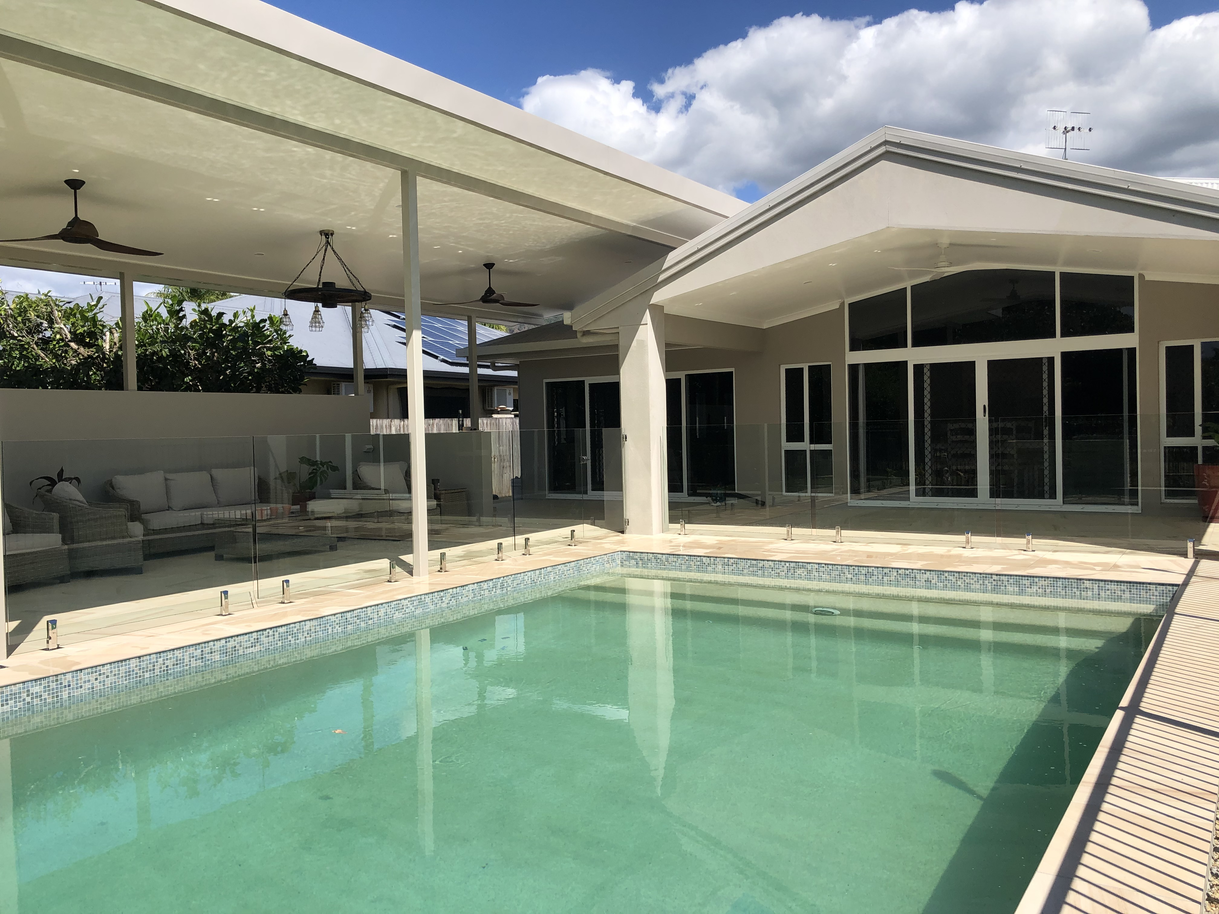 Core drilled, glass pool fencing, Port Douglas